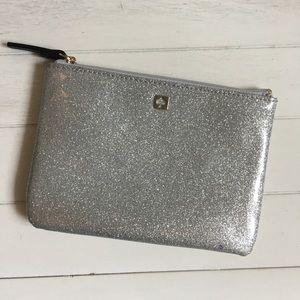Kate Spade Silver Glitter Marvis Street Mini Pouch